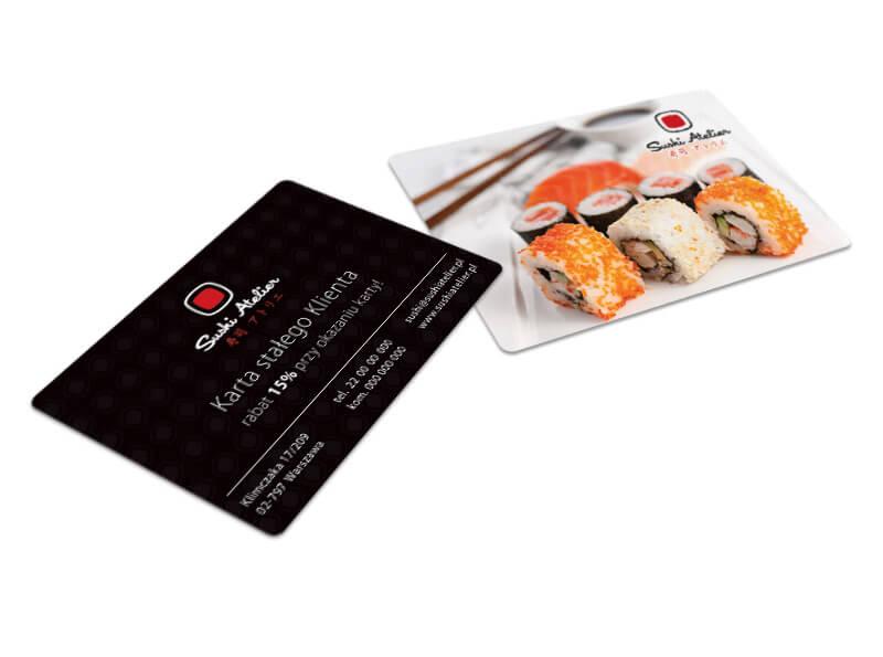 projekt i druk karty stałego klienta restauracja sushi