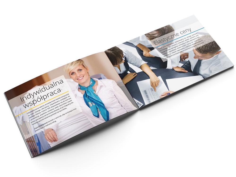 projekt i wydruk folderu reklamowego Pralni Texi środkowa strona