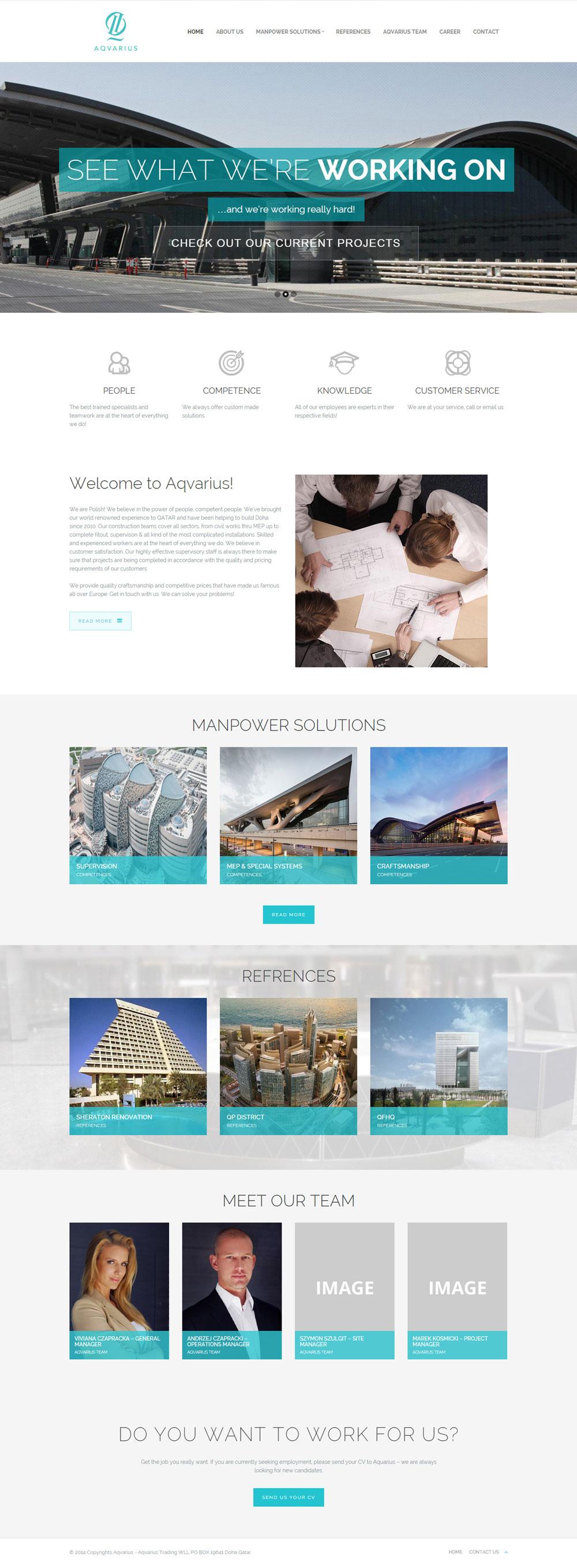 Projekt strony internetowej Aqvarius