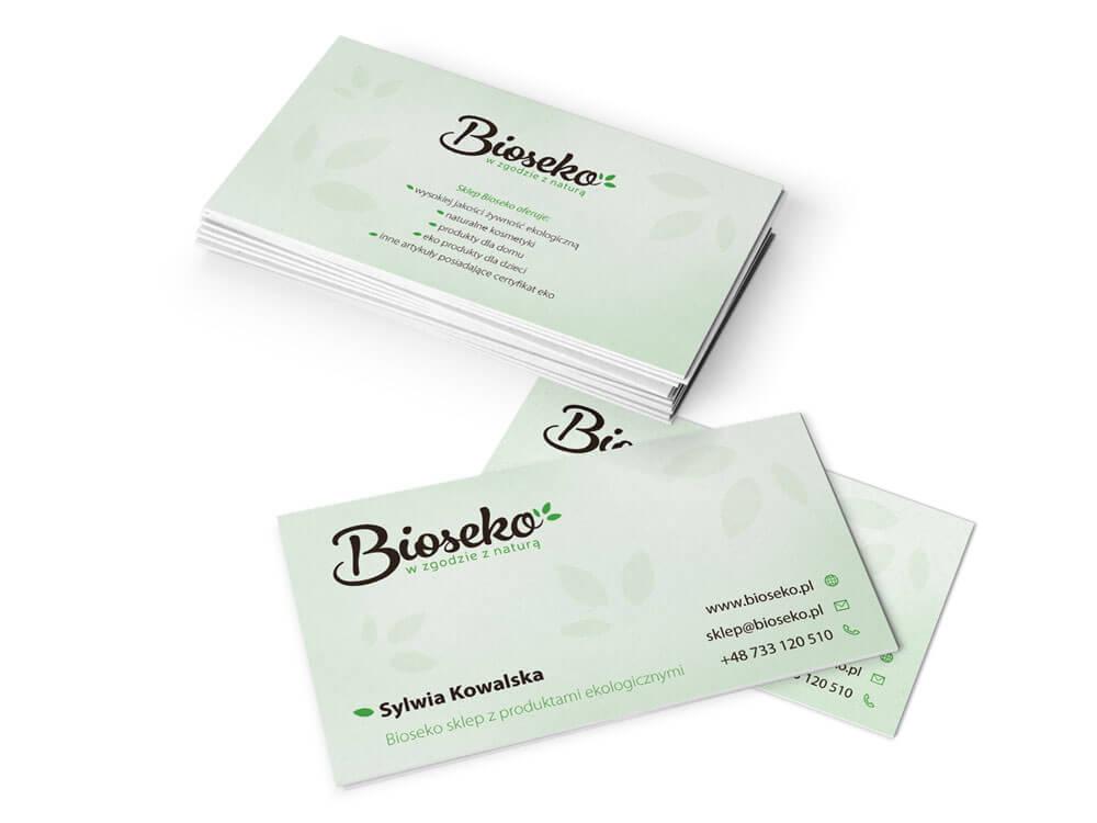 Projekt i wydruk wizytówek sklepu Bioseko